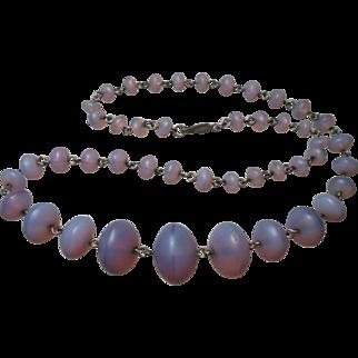 Art Deco Opaline Amethyst Glass Bead Necklace