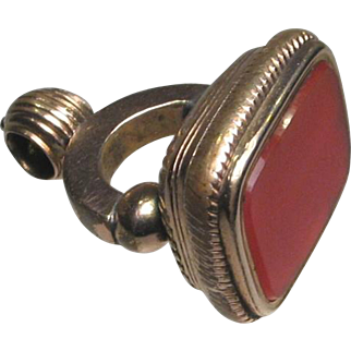 Antique Early Victorian Rolled Rose Gold Carnelian Fob