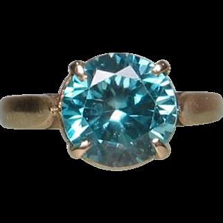 18K Rose Gold Blue Zircon Ring