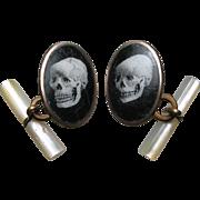 Rare Antique Skull Cufflinks Victorian ~ Enamel, Mother of Pearl