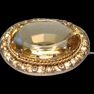 Georgian Antique 9ct Gold Citrine Brooch