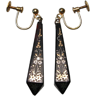 Victorian Pique Inlay Pendant Earrings