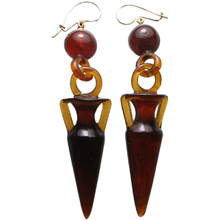 Antique Victorian Amphora Etruscan Urns Pendant Earrings