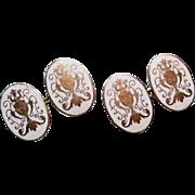 Antique 9ct Gold Rodd White Enamel Ornate Urns Cufflinks