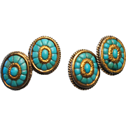 Victorian 18k Gold Persian Turquoise Cufflinks Pair