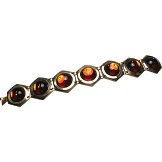 Retro Orange Glass Cabochon Bracelet