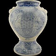 SIGNED Meiji Japanese Seto antique studio ware painted Foo Lion Blue & White vase