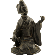 SIGNED Taisho Period Japanese Bronzed Spelter or Pewter Geisha Woman Okimono Figurine