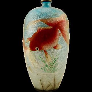SIGNED Kawaguchi Bunzaemon Meiji Period antique Japanese Ginbari Cloisonne silver 'Basse Taille' koi fish vase