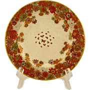 SIGNED Kizan Meiji Period Japanese antique Satsuma ware hand painted floral millefleurs & butterfly plate