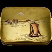 Meiji Japanese antique Bronze and Shakudo mixed metal sailboat scene hinged kogo box
