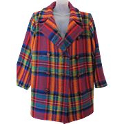 Vintage 1980s Yves Saint Laurent Rive Gauche Plaid Wool Multi Color Coat Paris France L - XL