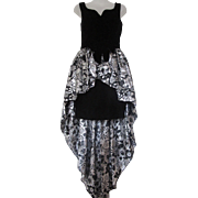 Vintage 1980s Jessica McClintock Velvet Metallic High Hi Low Party Dress