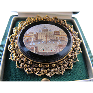 Antique Micro Mosaic Pin Brooch in Extraordinary 18K Gold Frame