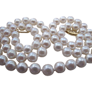 Beautiful Cultured Pearl Necklace 6mm 18 Inch White with 14K Gold Clasp