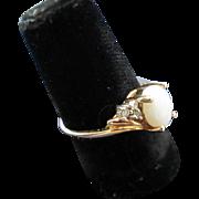Vintage 14K Gold Opal Diamond Ring 6.75