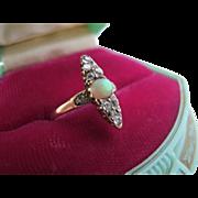 Antique Victorian Edwardian 14K Gold Opal Diamond Pave Ring 6.5