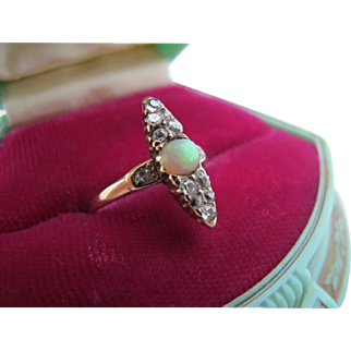 Antique Victorian Edwardian 14K Gold Opal Diamond Pave Ring 6.5