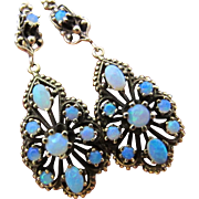 Vintage October Birthday Birth Stone Victorian Revival Opal Earrings 14K Gold Large Dangle Almost Huge Bling!