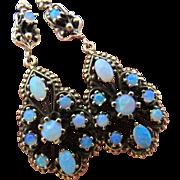 Vintage  Victorian Revival Opal Earrings 14K Gold Large Dangle