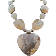 Vintage 925 Sterling Silver Agate Quartz Heart Pendant Goddess Statement Runway Necklace