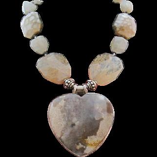 Vintage 925 Sterling Silver Agate Quartz Heart Pendant Goddess Statement Runway Necklace