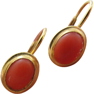 Gorgeous Vintage 585 14K Gold Coral Italy Leverback Pierced Earrings