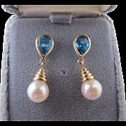 Vintage 14K Gold Blue Topaz Pearl Dangle Drop Pierced Earrings