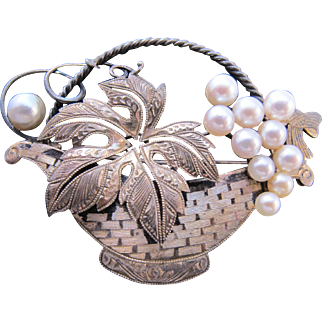 Antique Victorian Edwardian Sterling Silver Flower Basket Pin Pearl Grapes Floral