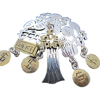 Nearly Unbelievable Taxco Mexico Sterling Silver Money Tree Pin ! Perfect Gift for Banker or Venture Capitalist or Stockbroker !