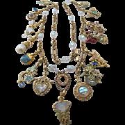 Vintage Kirks Folly Fairy Charm Necklace - Rhinestone Crystal Heart Moon Magic !