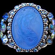 Vintage Kirks Folly Huge Rhinestone Mermaid Clamper Bracelet Blue Lorelei