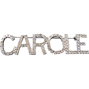 Vintage Carole Large Rhinestone Name Tag Badge Pin Dorothy Bauer 80s 90s.