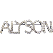 Vintage Alyson Large Rhinestone Name Tag Badge Pin by Dorothy Bauer 80s 90s