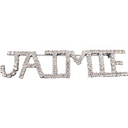 Vintage Jaimie Large Rhinestone Name Tag Badge Pin by Dorothy Bauer 80s 90s