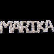 Vintage Marika Large Rhinestone Name Tag Badge Pin by Dorothy Bauer 80s 90s