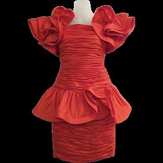Vintage 80s Red Dress Juliet DuRoche Vintage Size 4 / Modern Size 0 Evening Cocktail Party Prom