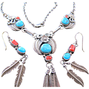 Turquoise Coral and Sterling Silver Necklace Flower Feather Signed