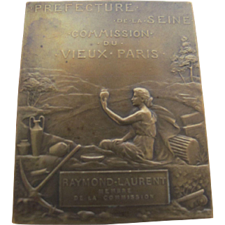 Vintage Paris France Small Bronze Plaque Prudhomme Commemorative Medal Metal Art
