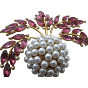 Vintage Extraordinary Huge Unsigned Rhinestone Faux Pearl Forbidden Fruit Pin Brooch Unsigned