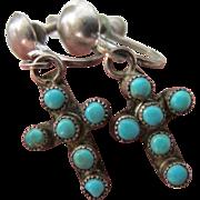 Vintage Petite Sterling Silver Turquoise Cross Screw Back Earrings