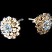 Vintage 14K Gold Aquamarine Flower Pierced Post Earrings