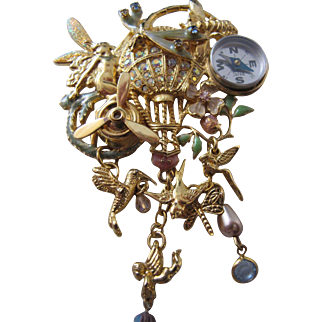 Exquisite Vintage Kirks Folly Fantasy Flyer Pin with Hot Air Balloon Compass Fairy Dangle Crystal Huge