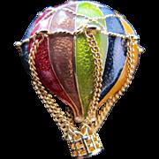 Vintage MFA Museum Fine Art Enamel Hot Air Balloon Pin Multi color