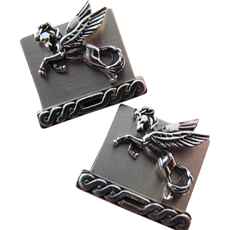 Vintage Swank Sterling Silver Pegasus Magical Flying Horse Cufflinks Cuff LInks Weighty - almost 1 Ounce!