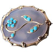 Antique Victorian 12K Gold Chalcedony Turquoise Forget Me Not Brooch Pin