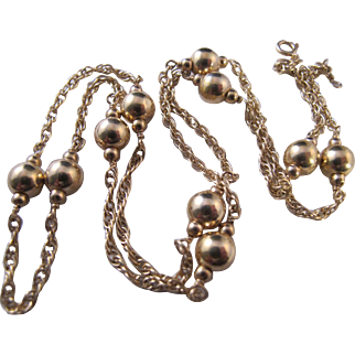 Wonderful Vintage 23 Inch 14K Gold Ball and Chain Station Necklace