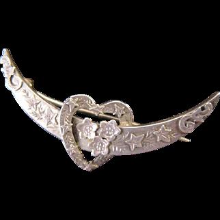 Antique Victorian Moon Honeymoon Pin Brooch English Sterling Silver Marks