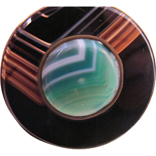Extraordinary Antique Banded Agate Large Circle Pin Green Black