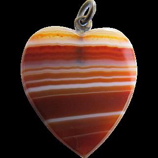 Vintage Banded Agate Heart Pendant or Charm for necklace or bracelet